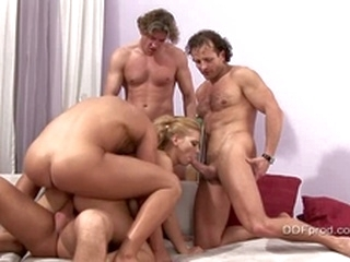 blowjob big dick Luba Love takes on four hard cocks at one time, this whore loves it all