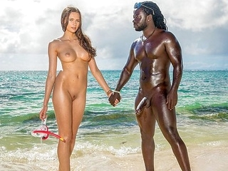 outdoor interracial On the shore of the black sea Jock eagerly Fucks slender chick...