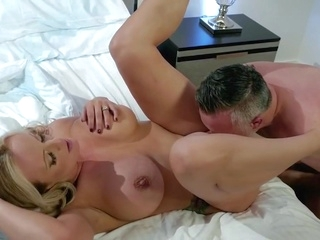 cumshot big tits While husband sleeps Mature woman