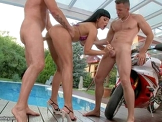 hardcore blowjob Aletta Ocean suck cock and getting fuck by the pool