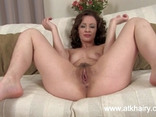 solo masturbation Her hairy pussy is gaping