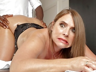 interracial anal Horny milf with huge tits calls in for anal massages