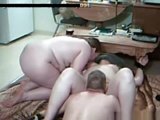 masturbation hardcore Husband in a threesome with his fat wife and her friend at home
